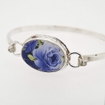 Broken China Jewelry Oval Shades of Blue Roses Porcelain Sterling Bangle Bracelet